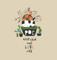 cute funny cat sitting in a flower pot vector image vector image