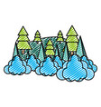 doodle nature pine tree with clouds landscape vector image vector image