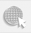 earth globe with cursor white icon with vector image vector image