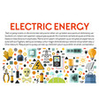 electric energy banner with electrical works icons vector image