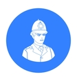 English policeman icon in black style isolated on vector image