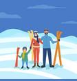 family skiing winter seasonal fun of parents kid vector image vector image
