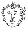 flower face in shape a face in this vector image vector image