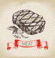 hand drawn sketch meat product vintage ribeye vector image vector image
