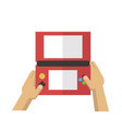 hand playing red game console vector image vector image