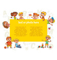 happy children holding blank poster vector image vector image