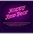 happy new year holiday bright neon alphabet vector image