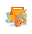 lunch bag with cookie and orange juice healthy vector image vector image