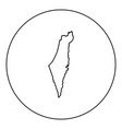 map of israel icon black color in round circle vector image vector image