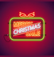 merry christmas sale neon sign vector image