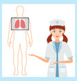 nurse in uniform offers to do fluorography of the vector image vector image