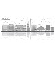 outline dublin ireland city skyline with historic vector image vector image