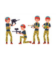 paintball player battle team members vector image vector image