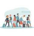 passengers with luggage crowding in departures vector image vector image