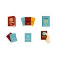 passport icon set flat style vector image