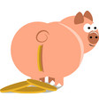 piggy bank with coin vector image vector image