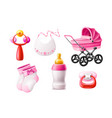 realistic newborn infant baby products set vector image