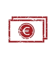 Red grunge euro buck logo vector image vector image