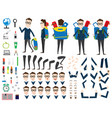 school boy character animation set front back vector image