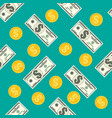 seamless pattern of dollar banknotes golden coins vector image