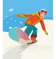 Snowboarder jumping through air with deep blue sky vector image