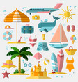 summer holiday tourism and vacation flat icons vector image vector image
