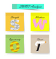 swot analysis chart sticky notes vector image vector image