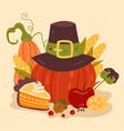 thanksgiving pumpkin pie flat graphic vector image