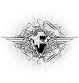 vintage emblem with animal skull vector image vector image