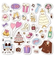 Wedding stickers icons vector image