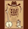 wild west party poster template cowboy boots hat vector image vector image