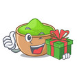 with gift matcha powder above glass cartoon table vector image vector image