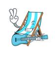 with guitar beach chair mascot cartoon vector image