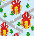 Gift Christmas city seamless pattern Fantastic vector image