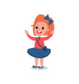 cheerful red-haired girl in casual outfit red vector image