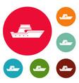ship transport icons circle set vector image