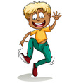 A boy with ants around his pants vector image vector image