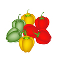 A Set of Colored Bell Peppers on White Background vector image