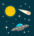 alien ship in space concept background flat style vector image
