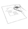 artistic hand drawing dream house on paper vector image vector image