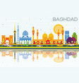 baghdad skyline with color buildings blue sky and vector image vector image