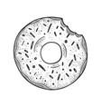 bitten donut sketch vector image