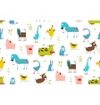 Bright Fun Cartoon Farm Domestic Animals Seamless vector image vector image