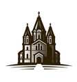 church place of worship or cathedral vintage vector image