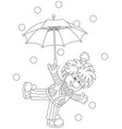 circus clown with an umbrella vector image vector image