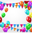 colorful balloons confetti and ribbons vector image
