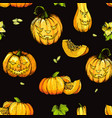 colorful halloween pumpkin with evil scary smile vector image