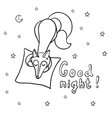 cute cartoon sleeping fox with pillow vector image vector image