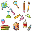 cute sketchy doodle back to school icons vector image vector image