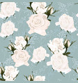delicate pattern white roses flowers and herbs vector image vector image